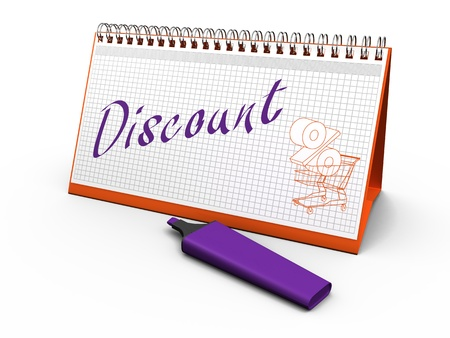 desktop calendar for notes with the words  discount  and lying next marker  3d render Stock Photo