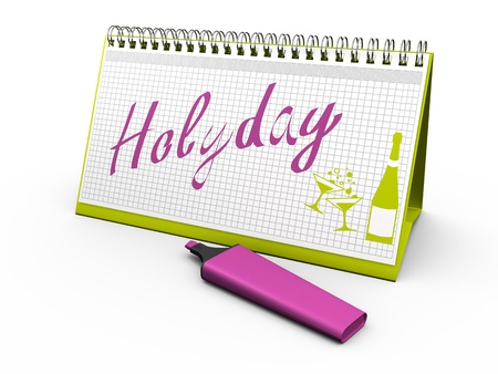 desktop calendar for notes with the words  holyday  and lying next marker  3d render