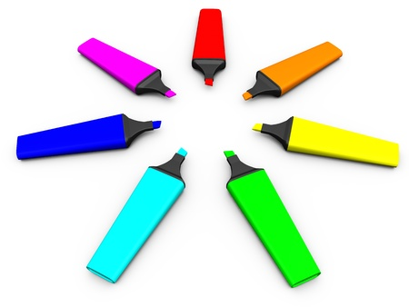 colored markers lie around photo