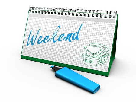 weekend break: desktop calendar for notes with the words  weekend  and lying next marker Stock Photo