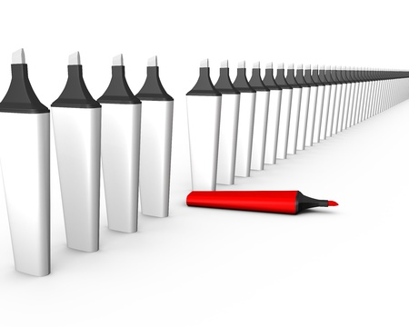 many white markers standing in a row with one red one  3d render pattern  Stock Photo