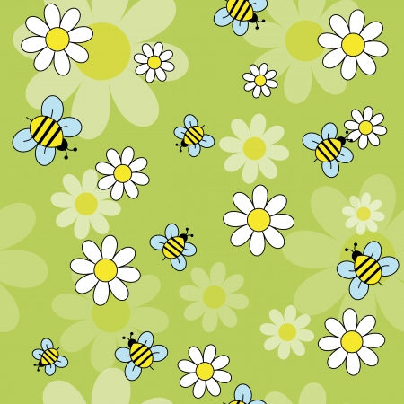 daisy flowers with bees on a green background  vector seamless pattern