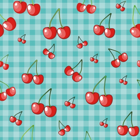 cherry branch on a blue background in the cell  vector seamless pattern