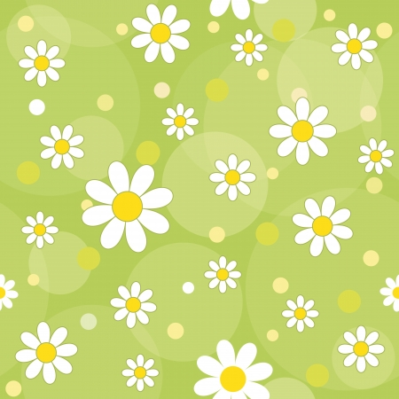 daisy flowers on a green background  vector seamless pattern