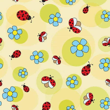 daisy flowers with ladybugs on a green background  seamless pattern  Vector