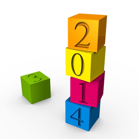 2014 on the colored cubes  3d render Stock Photo