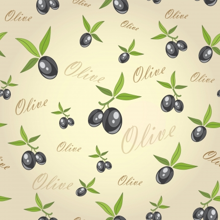 olives from branches on a gray background  vector seamless pattern  Illustration
