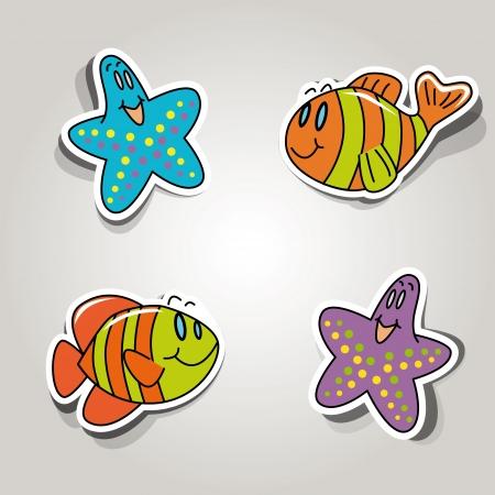 inhabitants: set di icone sul tema marino abitanti Vettoriali