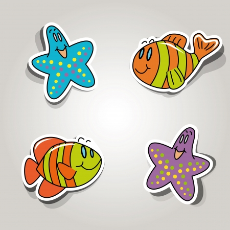 set of icons on the marine inhabitants theme Vector