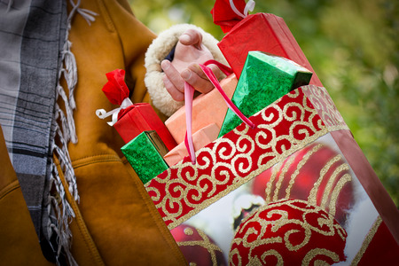 christmas shopping bag: Christmas shopping - purchasing is satisfaction and happiness Stock Photo