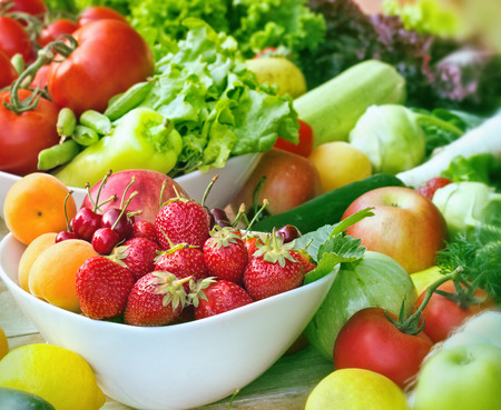 Fresh organic fruits and vegetables close-up Stock Photo