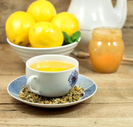 chamomile tea: Cup of chamomile tea Stock Photo