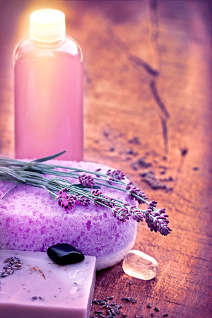 lavender oil: Spa concept -Spa treatment with lavender soap and lavender oil