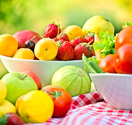 fruits and vegetables: Organic fruits and vegetables Stock Photo