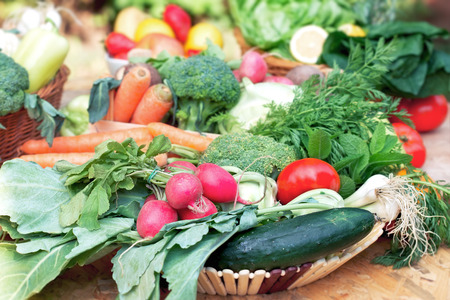Bio zöldségek és gyümölcsök Stock fotó