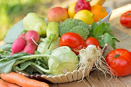 Gyümölcsök és zöldségek - egészséges ételek Stock fotó