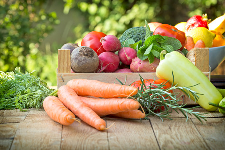 vegetarian food: Organic vegetables - healthy eating Stock Photo