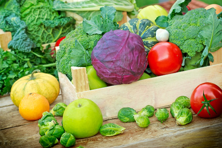 creates: Fresh organic fruits and vegetables in a creates