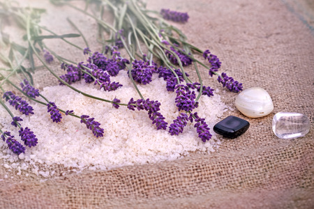 mineral salt: Spa treatment - concept lavender, mineral salt and spa stones Stock Photo
