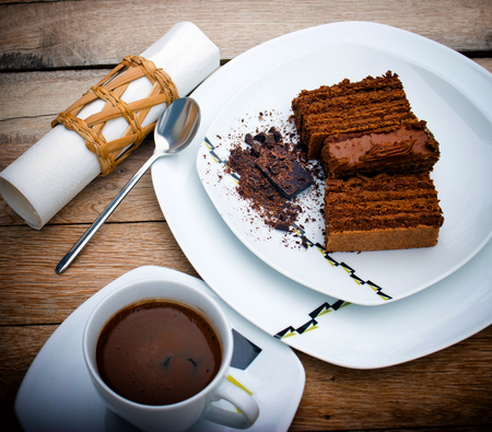 chocolaty: Chocolate cake and cup of coffee