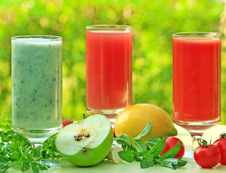 healty: Healty drink - juice and smoothie Stock Photo
