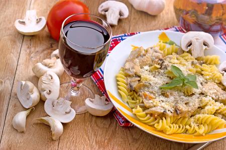 fungi: Fungi - mushroom pasta Stock Photo