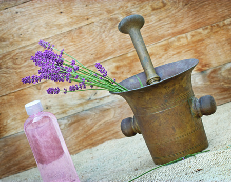 lavender oil: Lavender and lavender oil Stock Photo