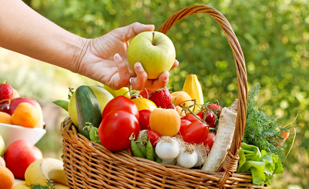 vegetarian food: Fresh fruits and vegetables - healthy, organic food