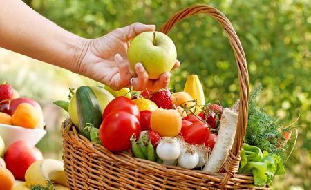 food basket: Fresh fruits and vegetables - healthy, organic food