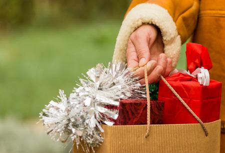 Compras navideñas - Compras de Navidad Foto de archivo