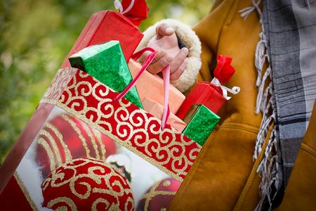聖誕購物 - 採購是滿足和幸福 版權商用圖片