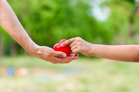 Minden szeretet fordítani a gyermekek - szerelmes szív a kézben Stock fotó