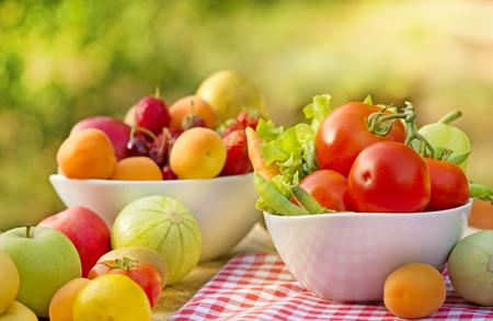 seasonal: Seasonal organic fruits and vegetables Stock Photo