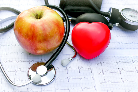 red stethoscope: Health care and healthy living Stock Photo