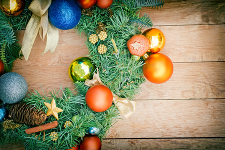 christmas bubbles: Christmas decoration with golden and blue bauble