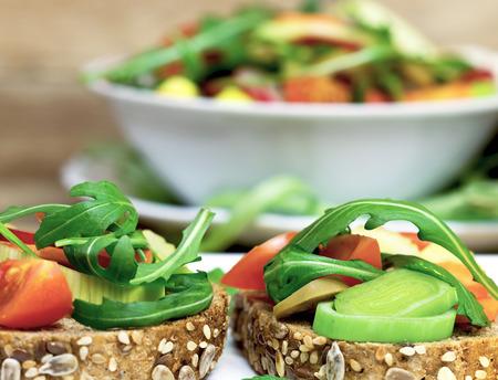 Vegetarische Sandwiches - gesunde Mahlzeit Standard-Bild