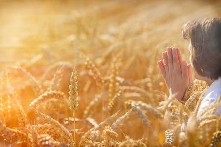Женщина молится за богатый урожай в поле пшеницы