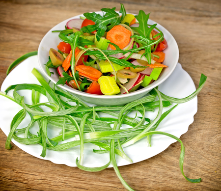 prepared: Fresh prepared salad - vegetarian food vegan food
