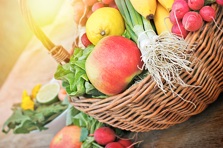 wicker basket: Fresh fruits and vegetables in wicker basket Stock Photo