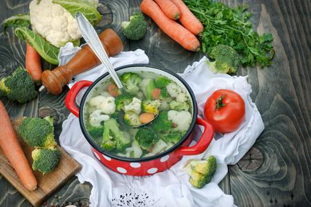Zdrowe jedzenie, wegetariańskie jedzenie - zupa jarzynowa Zdjęcie Seryjne