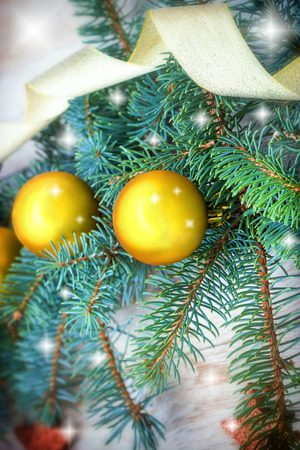 suprise: Golden bauble on Christmas tree