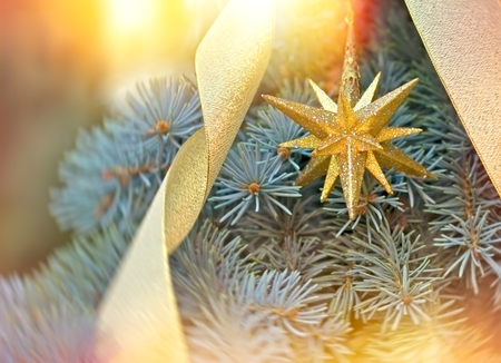 Golden Christmas star - Christmas decoration Stock Photo
