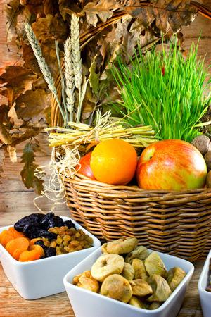 wicker basket: Christmas decoration in wicker basket on table