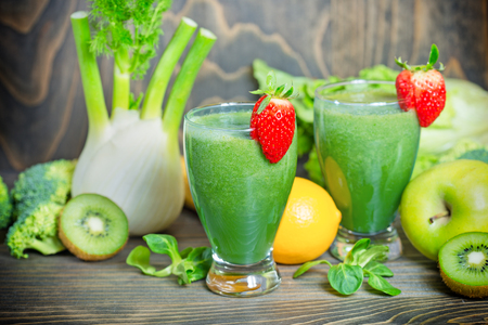 immunity: Green smoothie in our diet to boost immunity Stock Photo