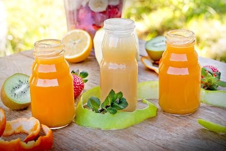 multivitamin: Multivitamin fruit juices Stock Photo