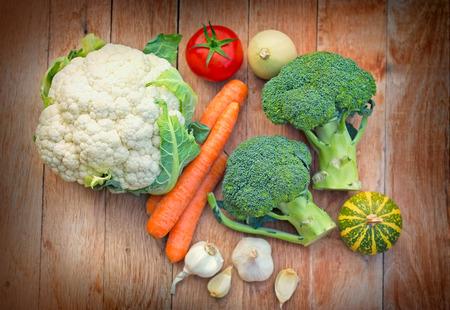 eating fruits: Broccoli, cauliflower - organic vegetables Stock Photo