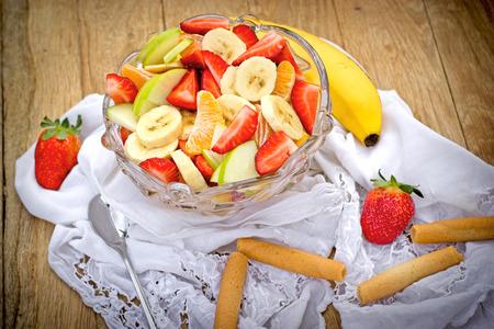 freshly prepared: Freshly prepared salad with organic fruit