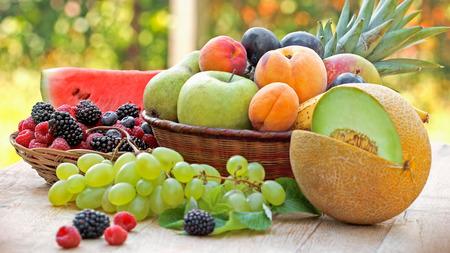 seasonal: Organic seasonal fruits - vegetarian food Stock Photo