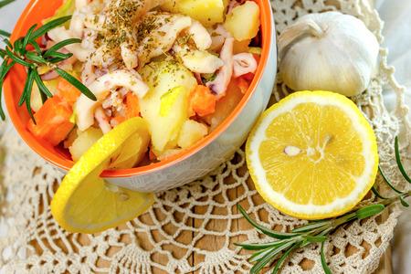 squid: Squid salad (salad with squid) - homemade