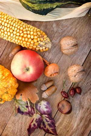 arrives: Autumn arrives with autumn harvest Stock Photo